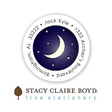 Under The Stars Round Address Sticky
