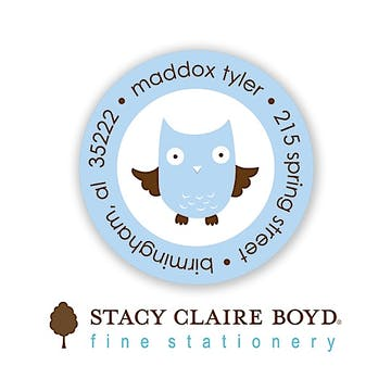 Whooo's Party Blue Round Address Sticky
