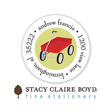 Red Wagon Party Round Address Sticky