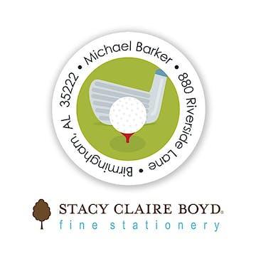 Let's Play Golf Round Address Sticky