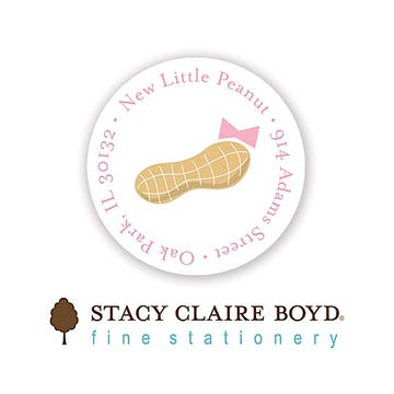 Our Little Peanut Pink Round Address Sticky