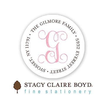 Powdered Monogram - Pink Round Address Sticky