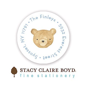 Floating Bear Round Address Sticky