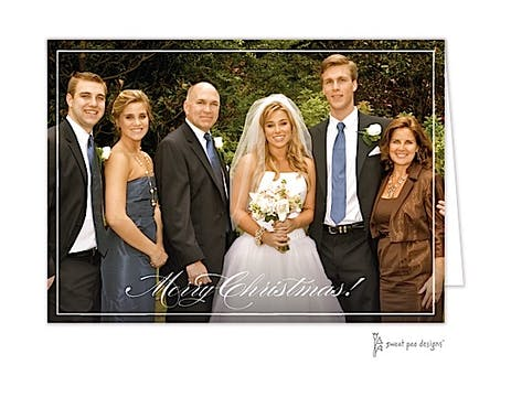 Simple White Border Folded Photo Holiday Card