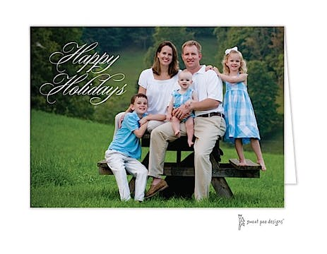 Happy Holidays Script Full Bleed Holiday Folded Photo Card