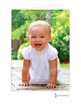 Merry Christmas Script Full Bleed Holiday Folded Photo Card