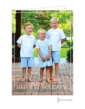 Simple White Border Vertical Holiday Folded Photo Card