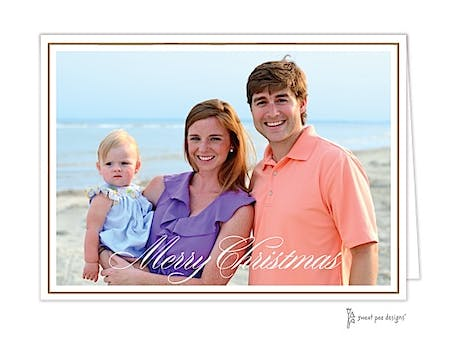 Simple Script Gold On White Border Holiday Folded Photo Card