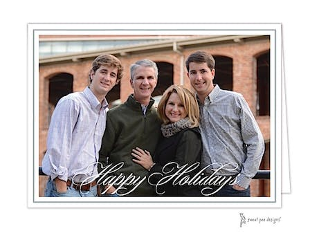 Simple Script Silver On White Border Holiday Folded Photo Card