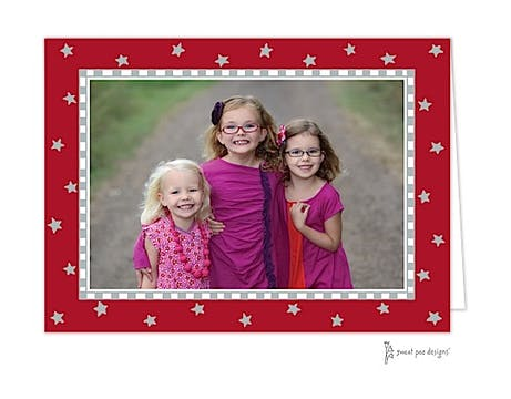 Holiday Silver Stars On Red Holiday Folded Photo Card