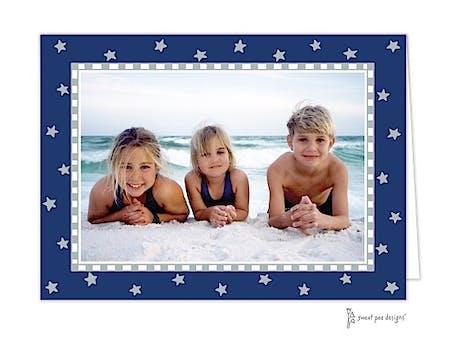 Holiday Silver Stars On Navy Holiday Folded Photo Card