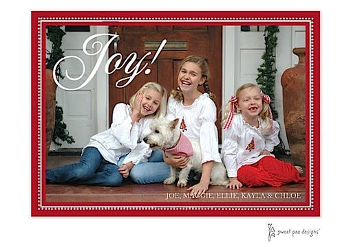 Joy On Beaded Border Red Horizontal Holiday Flat Photo Card
