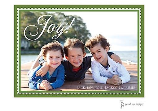 Joy On Beaded Border Dark Green Horizontal Holiday Flat Photo Card