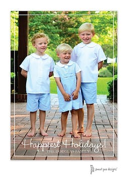 Simple White Border Vertical Holiday Flat Photo Card