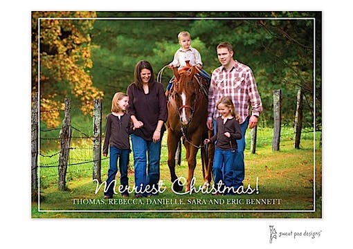Simple White Border Horizontal Holiday Flat Photo Card