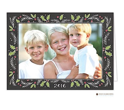 Chalkboard Christmas Border Print & Apply Holiday Folded Photo Card
