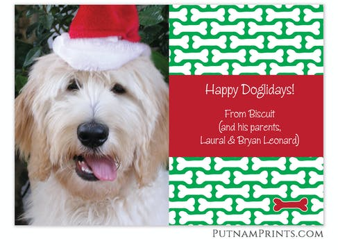 Dog Bone Holiday Flat Photo Card