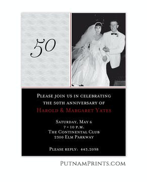 Black & Grey Photo Anniversary Invitation