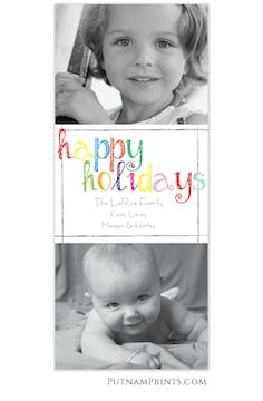 Multi-colored Happy Holidays Flat Photo Card