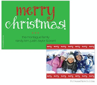 Merry Stitched Greeting Flat Photo Card