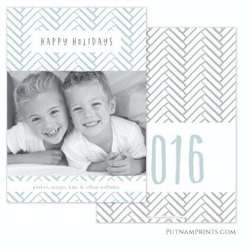 Aqua Herringbone Holiday Flat Photo Card