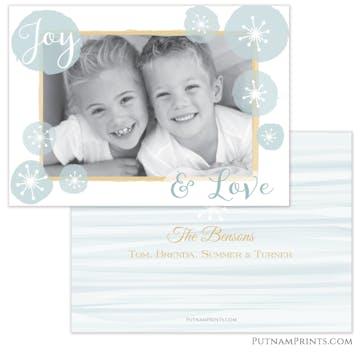 Watercolor Flakes Holiday Flat Photo Card
