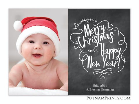 Chalkboard Greetings Holiday Flat Photo Card