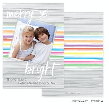 Watercolor Bands Holiday Flat Photo Card