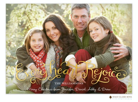 Every Heart Rejoice Foil Pressed Holiday Flat Photo Card