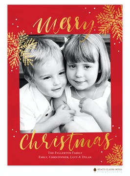 Shiny Snow Foil Pressed Holiday Flat Photo Card