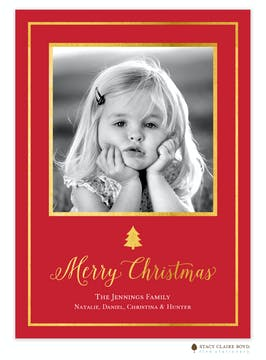 Framed Spruce Foil Pressed Holiday Flat Photo Card