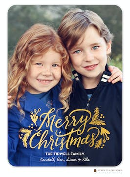 Gilded Greenery Foil Pressed Holiday Flat Photo Card