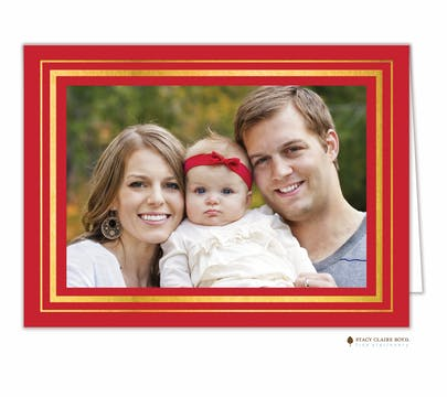 Brightly Framed Red Foil Pressed Holiday Folded Photo Card