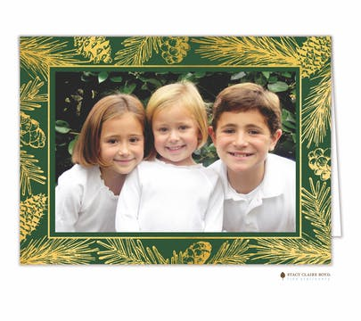 Forest Edge Foil Pressed Holiday Folded Photo Card