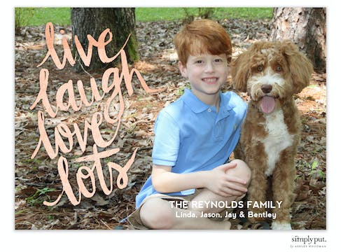 Live, Laugh, Love Foil Pressed Holiday Flat Photo Card