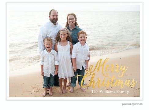 Southern Snow Holiday Foil Pressed Flat Photo Card
