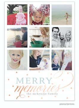 Merry Memories Foil Pressed Holiday Flat Photo Card