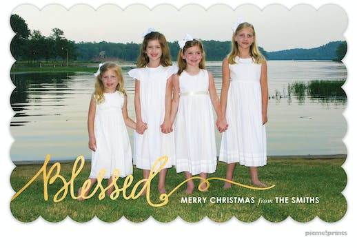 Blessed Foil Pressed Holiday Flat Photo Card (Designed by Natalie Chang)
