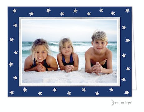 Holiday Silver Stars on Navy Foil Pressed Holiday Folded Photo Card