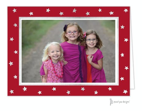 Holiday Silver Stars on Red Foil Pressed Holiday Folded Photo Card