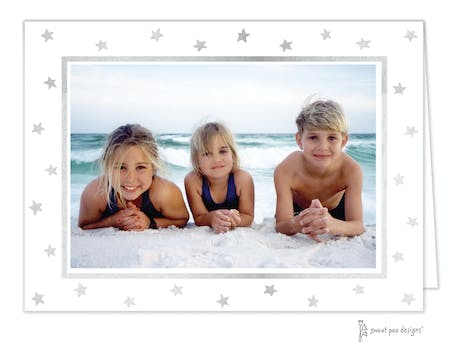Holiday Silver Stars on White Foil Pressed Holiday Print & Apply Folded Photo Card
