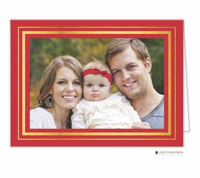 Brightly Framed Red Foil Pressed Print & Apply Holiday Folded Photo Card
