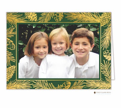 Forest Edge Foil Pressed Print & Apply Holiday Folded Photo Card