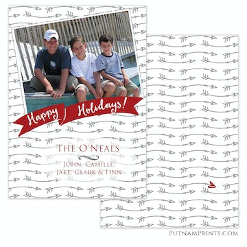Arrows Point to Holiday Flat Photo Card