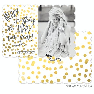 Golden Confetti Holiday Flat Photo Card