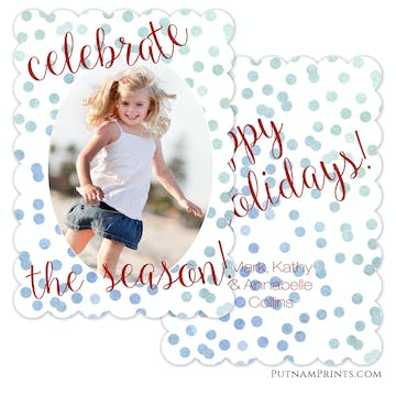 Blue Ombre Celebrate Confetti Holiday Flat Photo Card