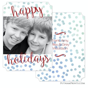 Blue Ombre Holiday Confetti Holiday Flat Photo Card