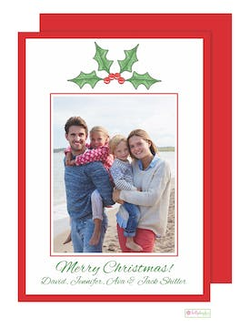 Holly Berry - red back Holiday Flat Photo Card