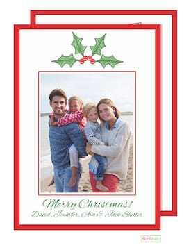 Holly Berry - printed back Holiday Flat Photo Card