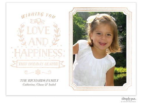 Love and Happiness Foil Pressed Holiday Flat Photo Card